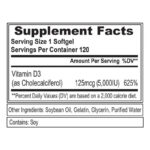 EVL Vitamin D3 fact 120 Softgels